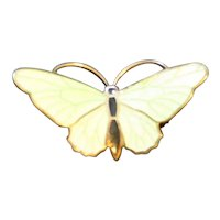 Pale Green Enamel Butterfly Pin Brooch