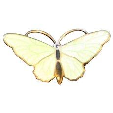 Pale Green Enamel Butterfly Pin Brooch
