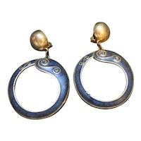 Berebi Blue Silver Tone Circle Hoop Drop Clip Earrings