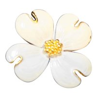 White Enamel Gold Tone Dogwood Flower Pin