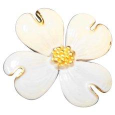 White Enamel Gold Tone Dogwood Flower Pin