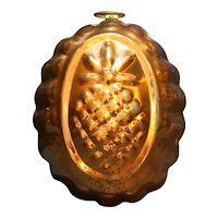 Copper Pineapple Oval Mold Fluted Edge