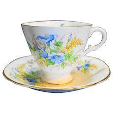 Clarence Bone China Blue Flowers Cup Saucer England