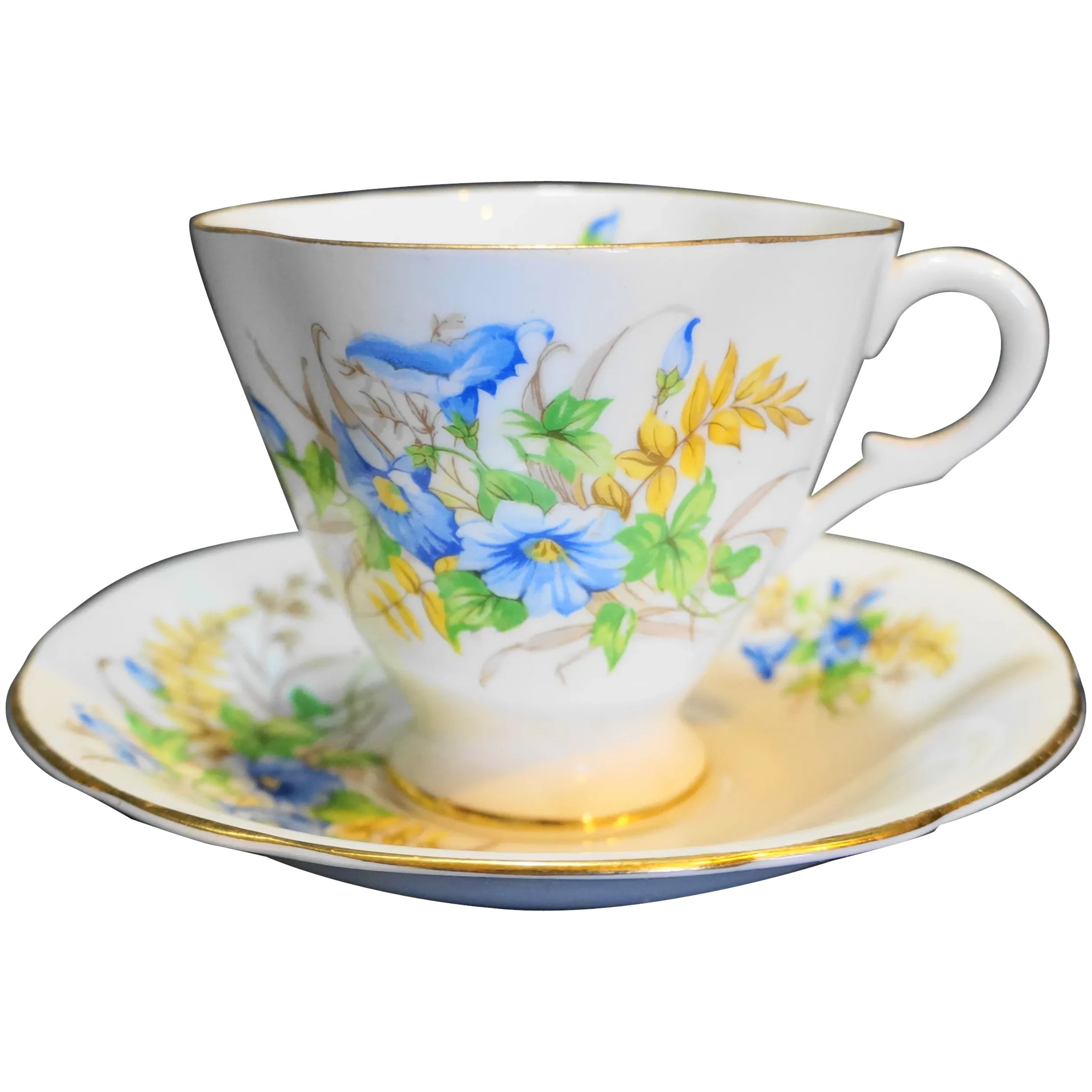 Clarence Bone China Blue Flowers Cup Saucer England Hoosier Collectibles Ruby Lane