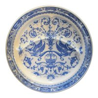Greek Roman Mythology Blue White Restaurant Ware Grill Plate