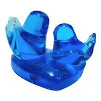 Leo Ward Bluebird of Happiness Blue Art Glass Birds Heart Signed 1996