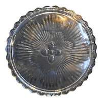 Clear Glass 1930s Floral Cake Plate Scalloped Rim Three Feet