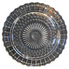 Clear Daisy Pressed Glass Cake Plate Circles Scalloped Three Feet