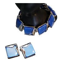 Charel Cornflower Blue Moonglow Thermoset Lucite Earrings Bracelet