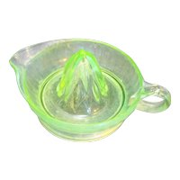 Green Depression Glass Juice Reamer Ribbed