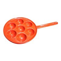 Red Enamel Cast Iron Aebleskiver Dumpling Pan