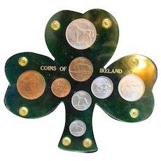 Coins of Ireland Pre-decimal 1950s Display Set Lucite Shamrock