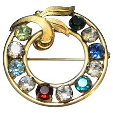 Van Dell Colorful Rhinestone Circle Wreath Pin Gold Filled
