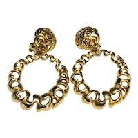 Gold Tone Dangle Hoop Earrings Clips