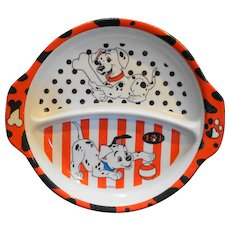 101 Dalmatians Divided Small Melmac Plate Zak Designs Vintage Used Disney