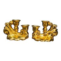 Gold Dipped Encrusted Candle Holders Pottery Scalloped Shape