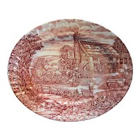 Wood & Sons The Post House Red Transferware Oval Platter 12 IN