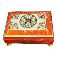Fricke Nacke Western Germany Tin Casket Box Red Gold