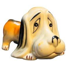 Sad Hound Dog Figurine Porcelain Hand Painted