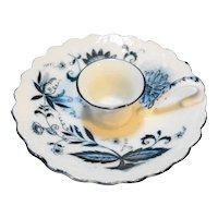 Arnart Blue Onion Chamber Finger Loop Candle Holder Porcelain