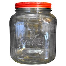 Coca Cola Anchor Hocking Glass Canister Jar Red Metal Lid