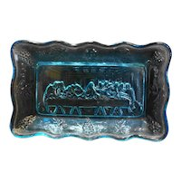 Lord's Supper Last Supper Sky Blue Indiana Glass Tiara Exclusives Mini Plate