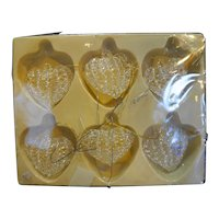 Clear Spun Glass Heart Ornaments Set of 6 In Box