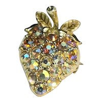 Aurora Borealis Rhinestone Strawberry Pin Small