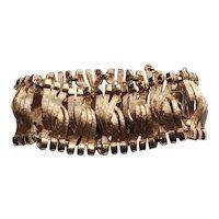 Brushed Gold Tone Ribbon Link Wide Bracelet