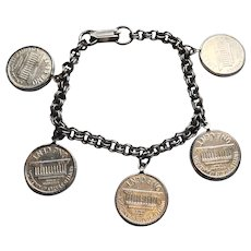 Lucky Penny Charm Bracelet 1962 Silver Plated
