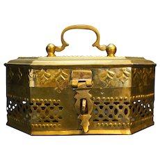 Brass Filigree Box Casket Potpourri Fragrance Cricket Cage Large