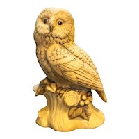 Barred Owl Lund's Lites Porcelain Handpainted Figurine Japan