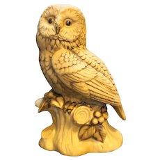 Barred Owl Lund's Lites Porcelain Handpainted Figurine Japan