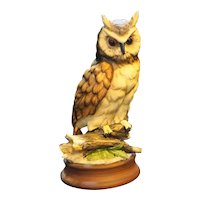 Homco Great Horned Owl Figurine 2870 Hand Painted 8 1/2 IN