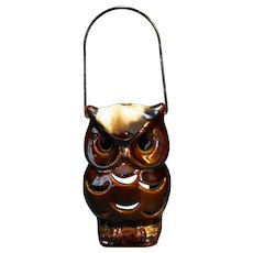 Brown Drip Pottery Owl Lantern Candle Lamp Wire Handle