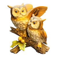 Homco Great Horned Owl Nesting Pair Figurine
