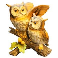 Homco Great Horned Owl Nesting Pair Figurine