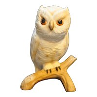 White Great Horned Owl Porcelain Figurine