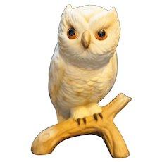 White Great Horned Owl Porcelain Figurine