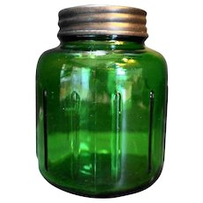 Reed Forest Green Glass Bottle 16 Oz 1940s Metal Lid