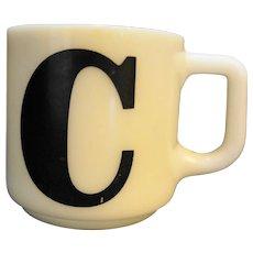 Hazel Atlas Milk Glass Platonite Mug C Initial