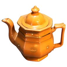Redware Paneled Teapot Gold Trim Moriage Enamel