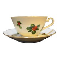 Lefton Holly 7950 Porcelain Cup Saucer Pair