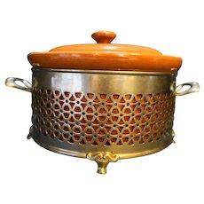 Guernsey Cooking Ware Brown Glazed Bean Pot Metal Filigree Holder