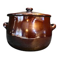 Brown Mirror Glaze Redware Bean Pot Pottery
