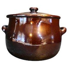 Brown Mirror Glaze Redware Bean Pot Pottery