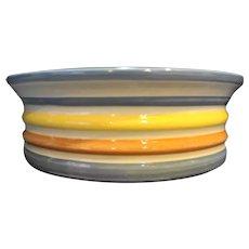 Louisville Stoneware Striped Serving Bowl Wide Crock Yellow Blue Orange