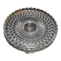 Oval Thumbprint Cane Button Pattern Glass Cake Stand Pedestal