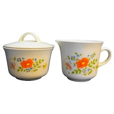 Corning Corelle Wildflower Creamer And  Sugar Bowl With Lid