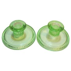 Green Depression Glass Low Candle Holders Pair
